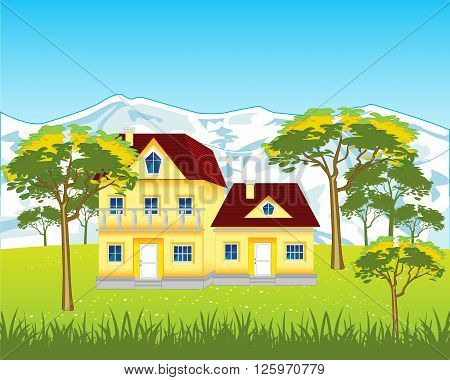 The Lodges in rural terrain on nature.Vector illustration