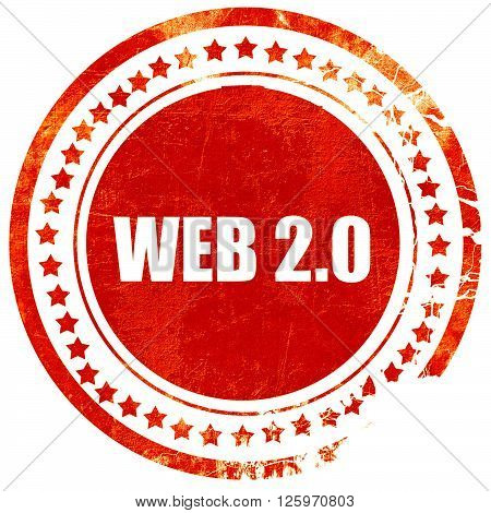 web 2.0, isolated red stamp on a solid white background