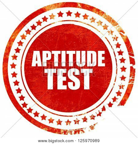 aptitude test, isolated red stamp on a solid white background