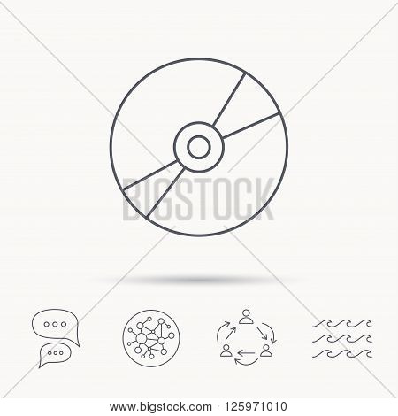 CD or DVD icon. Multimedia sign. Global connect network, ocean wave and chat dialog icons. Teamwork symbol.