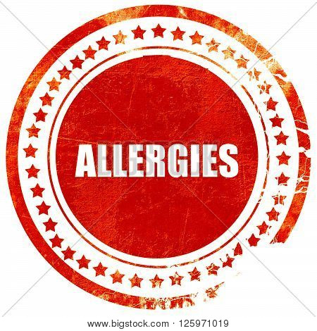 allergies, isolated red stamp on a solid white background