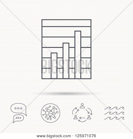 Chart icon. Graph diagram sign. Demand growth symbol. Global connect network, ocean wave and chat dialog icons. Teamwork symbol.
