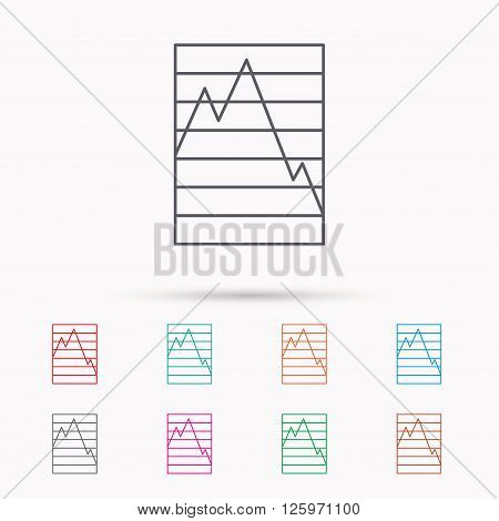 Chart curve icon. Graph diagram sign. Demand reduction symbol. Linear icons on white background.