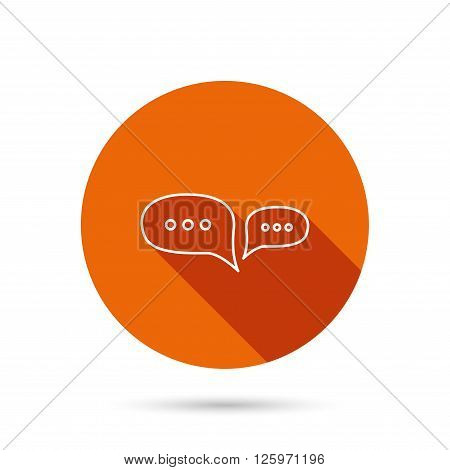 Chat icon. Comment message sign. Dialog speech bubble symbol. Round orange web button with shadow.