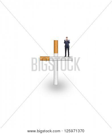 Cigarette addiction on white