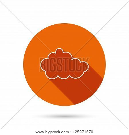 Cloud icon. Overcast weather sign. Meteorology symbol. Round orange web button with shadow.