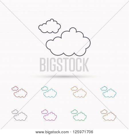 Cloudy icon. Overcast weather sign. Meteorology symbol. Linear icons on white background.