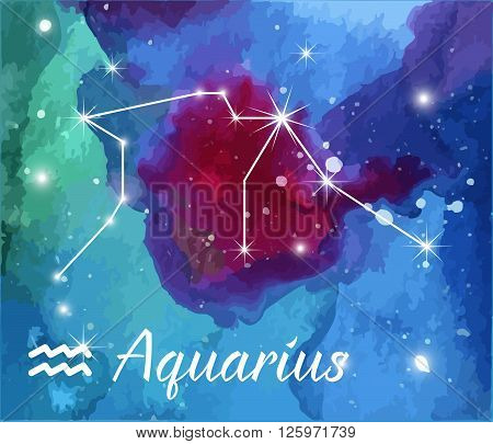 Aquarius horoscope star sign on hand painted watercolor abstract galaxy background. Vector graphic design elements. Purple violet green pink and blue astrology mystic illustration.
