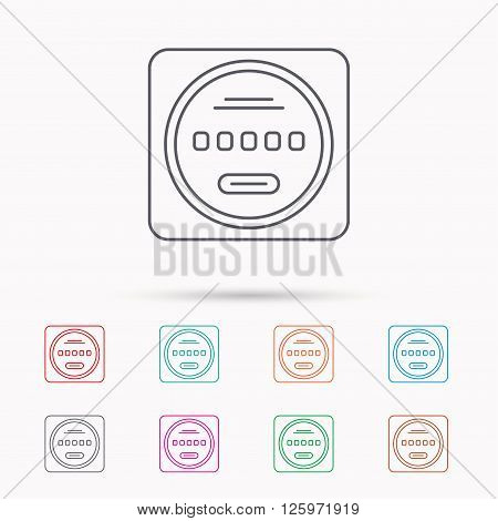 Electricity power counter icon. Measurement sign. Linear icons on white background.