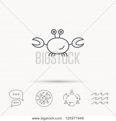 Crab icon. Cancer shellfish sign. Wildlife symbol. Global connect network, ocean wave and chat dialog icons. Teamwork symbol.