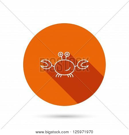 Crab icon. Cancer shellfish sign. Wildlife symbol. Round orange web button with shadow.