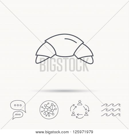 Croissant icon. Bread bun sign. Traditional french bakery symbol. Global connect network, ocean wave and chat dialog icons. Teamwork symbol.