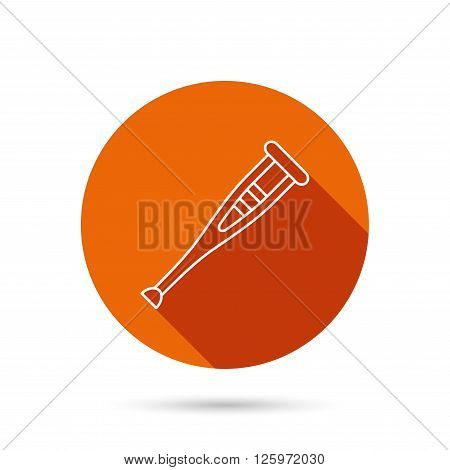 Crutch icon. Orthopedic therapy sign. Medical care equipment symbol. Round orange web button with shadow.