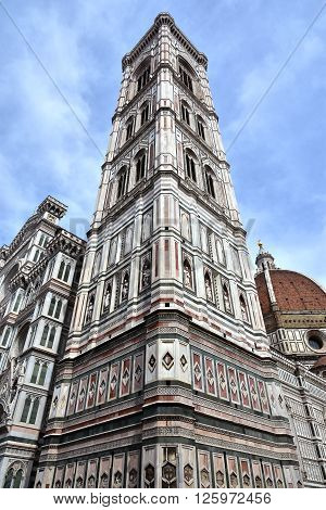 Giotto's bell tower seen from below with its wonderful gothic polychrome marbles