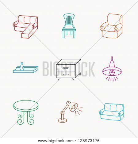 Corner sofa, table and armchair icons. Chair, ceiling lamp and nightstand linear signs. Wall shelf furniture flat line icons. Linear colored icons.