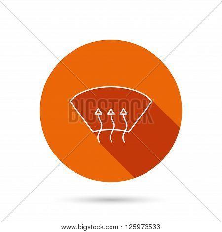 Heated window icon. Windshield arrows sign. Round orange web button with shadow.