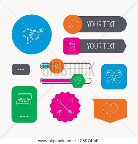 Love heart, gift box and wedding rings icons. Bow and engagement linear signs. Valentine amour arrows, brilliant flat line icons. Web buttons and app menu navigation.