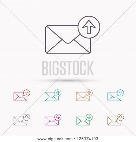 Mail outbox icon. Email message sign. Upload arrow symbol. Linear icons on white background.