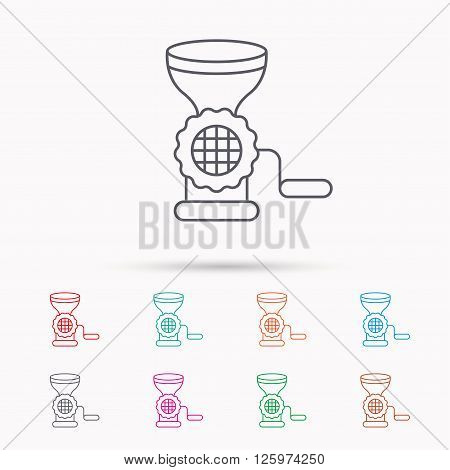 Meat grinder icon. Manual mincer sign. Kitchen tool symbol. Linear icons on white background.