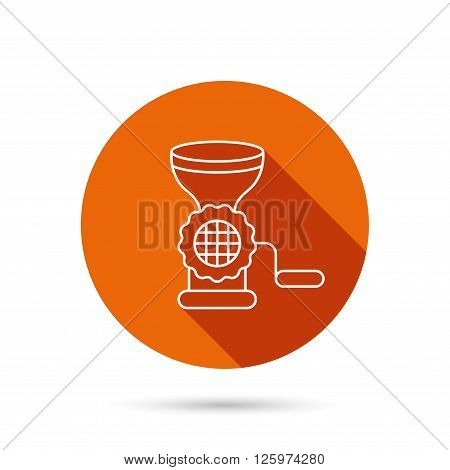 Meat grinder icon. Manual mincer sign. Kitchen tool symbol. Round orange web button with shadow.