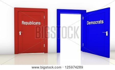 3D illustration of the election in the USA with a red close door for the republicans and a blue open door for the democrats