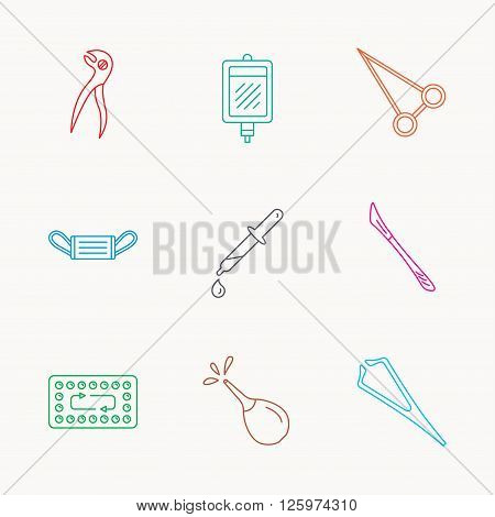 Medical mask, blood and dental pliers icons. Contraception, scalpel and clyster linear signs. Tweezers, pipette and forceps flat line icons. Linear colored icons.