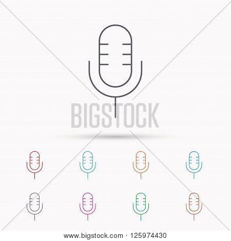 Retro microphone icon. Karaoke or radio sign. Linear icons on white background.