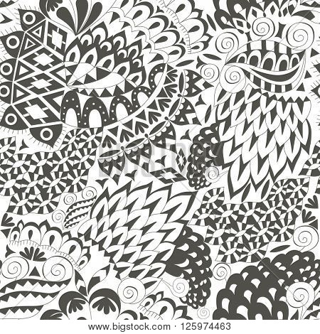 Vintage Ethnic Seamless Background. Boho Pattern. Black and White Ornament. Vector Decorative Background for Fabric.