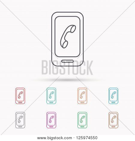 Smartphone icon. Cellphone with touchscreen sign. Linear icons on white background.