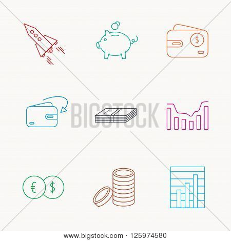 Piggy bank, cash money and startup rocket icons. Wallet, currency exchange and dollar usd linear signs. Chart, coins and dynamics icons. Linear colored icons.