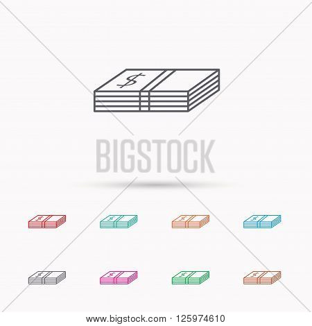 Cash icon. Dollar money sign. USD currency symbol. Linear icons on white background.