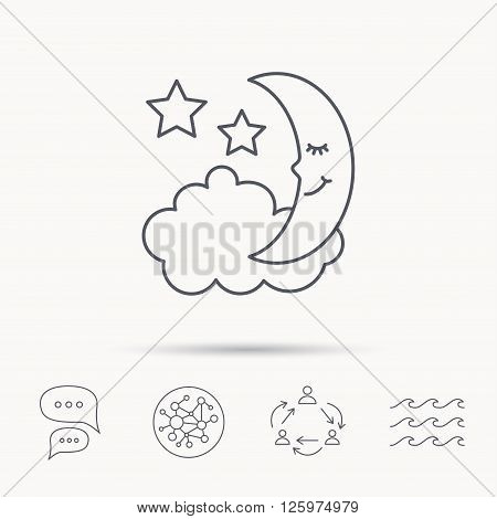 Night or sleep icon. Moon and stars sign. Crescent astronomy symbol. Global connect network, ocean wave and chat dialog icons. Teamwork symbol.