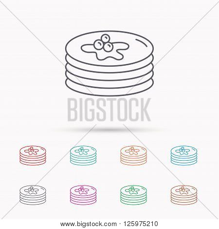 Pancakes icon. American breakfast sign. Food with maple syrup symbol. Linear icons on white background.