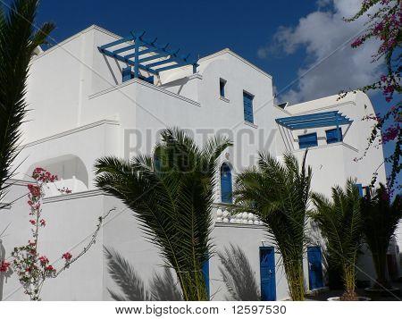 Blue Doors on White Buildings