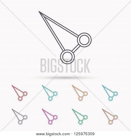 Pean forceps icon. Medical surgery tool sign. Linear icons on white background.