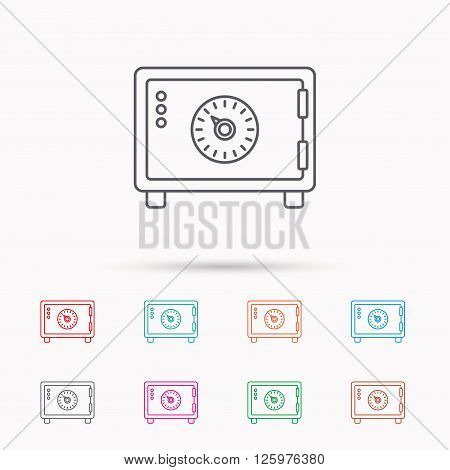 Safe icon. Money deposit sign. Combination lock symbol. Linear icons on white background.