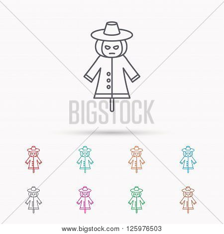 Scarecrow icon. Human silhouette with pumpkin head sign symbol. Linear icons on white background.