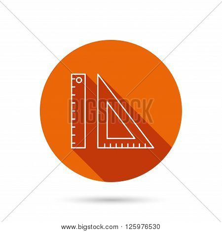 Triangular ruler icon. Geometric school supplies symbol. Round orange web button with shadow.