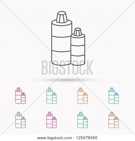 Shampoo bottles icon. Liquid soap sign. Linear icons on white background.