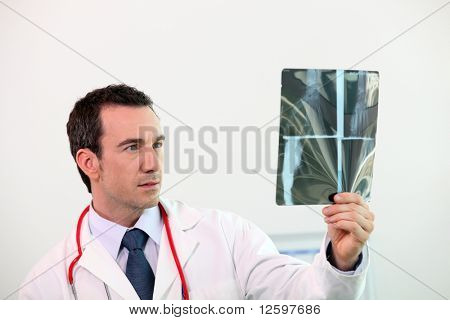 Doctor watching a radiography