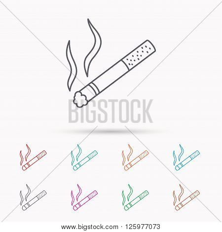 Smoking allowed icon. Yes smoke sign. Linear icons on white background.