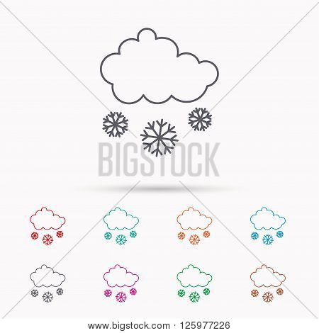 Snow icon. Snowflakes with cloud sign. Snowy overcast symbol. Linear icons on white background.