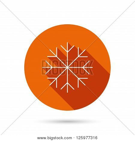 Snowflake icon. Snow sign. Air conditioning symbol. Round orange web button with shadow.