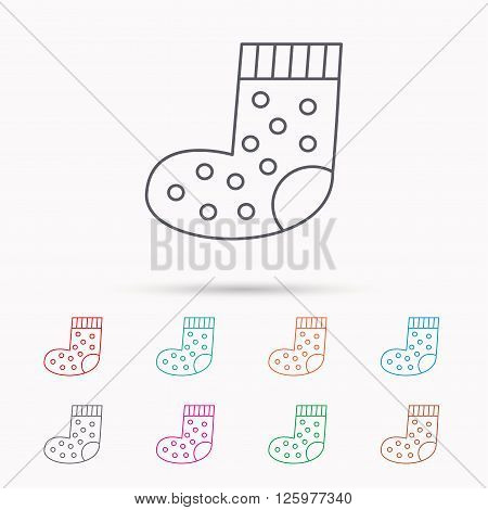 Sock icon. Baby underwear sign. Clothes symbol. Linear icons on white background.