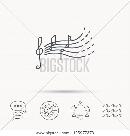 Songs for kids icon. Musical notes, melody sign. G-clef symbol. Global connect network, ocean wave and chat dialog icons. Teamwork symbol.