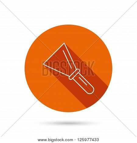 Spatula icon. Finishing repair tool sign. Round orange web button with shadow.