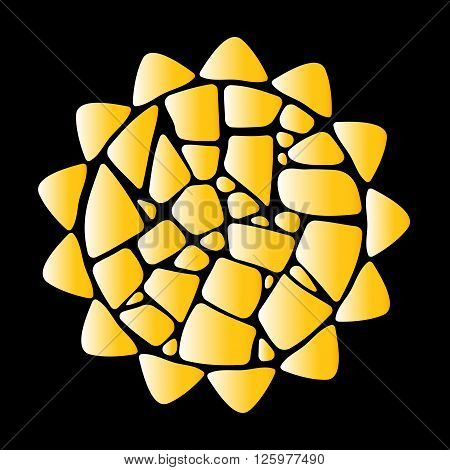 Mosaic vector sun. Yellow sun on black background. Mosaic sun logo. Gold sun icon. Mosaic sun design element.