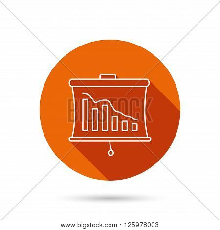 Statistic icon. Presentation board sign. Defaulted chart symbol. Round orange web button with shadow.