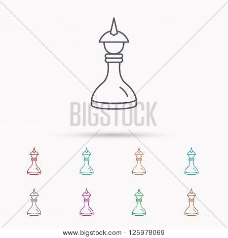 Strategy icon. Chess queen or king sign. Mind game symbol. Linear icons on white background.