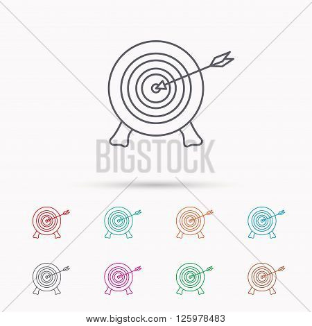 Target with arrow icon. Archery aiming sign. Professional shooter sport symbol. Linear icons on white background.